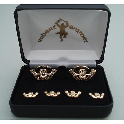 Gold Plated Claddagh Formal Wear Cuff Links Set