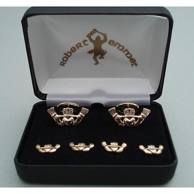 Gold Plated Claddagh Formal Wear Cuff Links Set