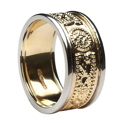 Celtic Ring - Men's Yellow Gold with White Gold Trim Celtic Warrior Court Wedding Band