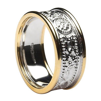 Celtic Ring - Ladies White Gold with Yellow Gold Trim Celtic Warrior Court Wedding Band