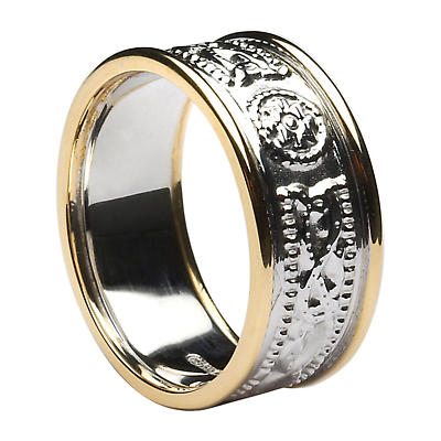 Celtic Ring - Men's White Gold with Yellow Gold Trim Celtic Warrior Court Wedding Band