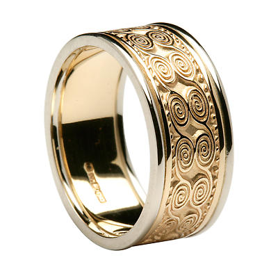 Irish Ring - Men's Yellow Gold with White Gold Trim Newgrange Irish Wedding Band