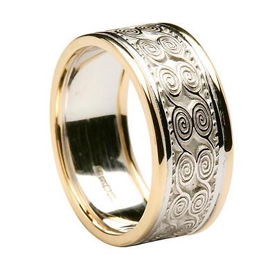 Irish Ring - Ladies White Gold with Yellow Gold Trim Newgrange Irish Wedding Band