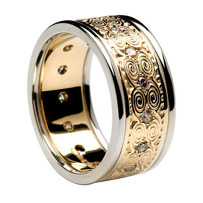 Irish Ring - Ladies Yellow Gold with White Gold Trim Newgrange Diamond Irish Wedding Band