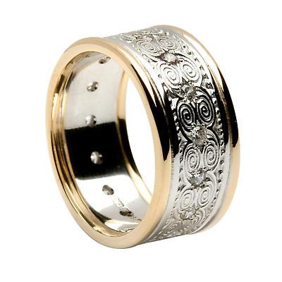 Irish Ring - Ladies White Gold with Yellow Gold Trim Newgrange Diamond Irish Wedding Band