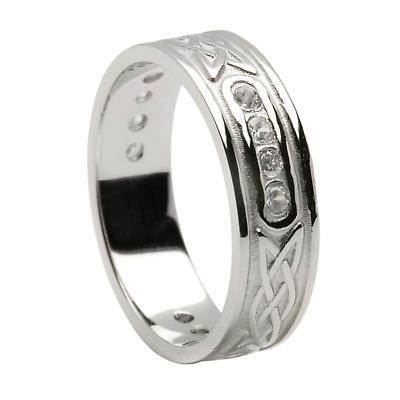 Irish Ring - Unisex Diamond Lovers Knot Irish Wedding Band