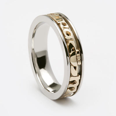 Product Upgrade - WED418GS to WED418 Gents White Gold with 10k Yellow Gold Signature Ring