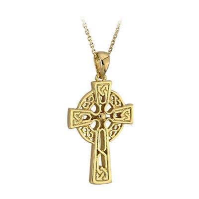 Celtic Pendant - 10k Gold Medium Celtic Cross Pendant with Chain