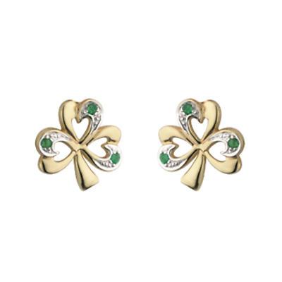 10k Gold Two Tone Emerald Shamrock Earrings