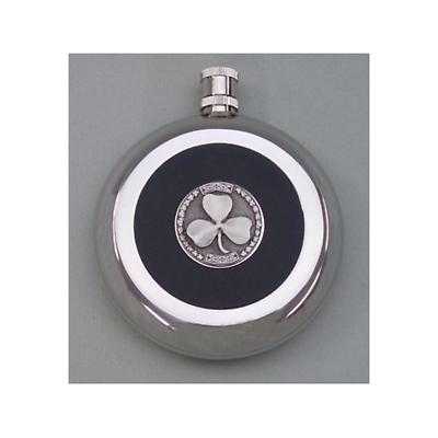 Shamrock Hip Flask 8oz. Stainless Steel. Silver Plated
