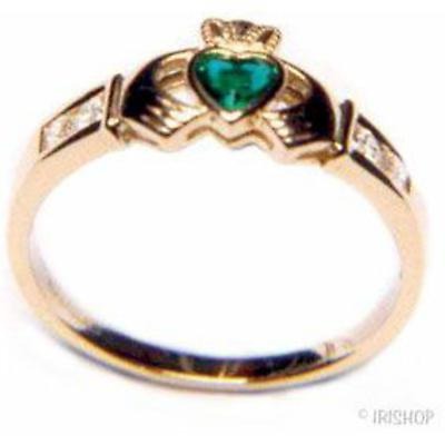 Claddagh Ring - Ladies 14k Gold with Crystal Emerald and CZ Claddagh