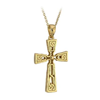 Celtic Pendant - 14k Yellow Gold Cross Pendant with Chain