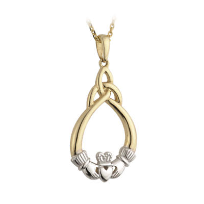 Irish Necklace - 14k Gold Two Tone Claddagh and Trinity Knot Pendant with Chain