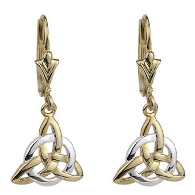 Celtic Earrings - 14k Gold Two Tone Trinity Knot Earrings