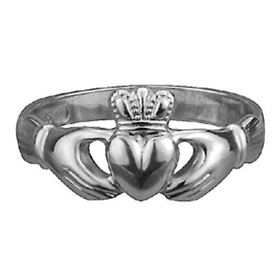 Claddagh Ring - Ladies 14k White Gold Extra Heavy Maids Claddagh