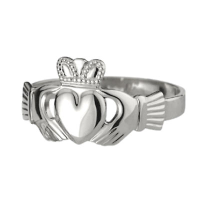Claddagh Ring - Ladies 14k White Gold Puffed Heart Claddagh
