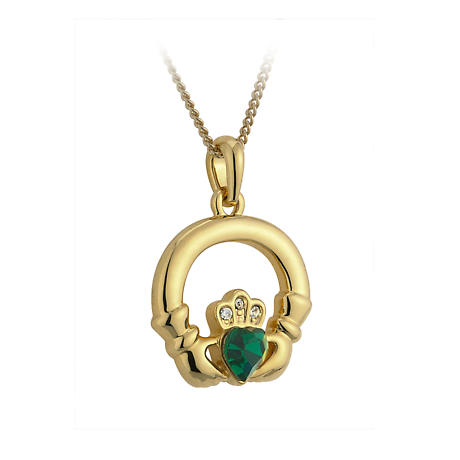 Irish Necklace - 18k Gold Plated with Green Heart Stone Claddagh Pendant with Chain