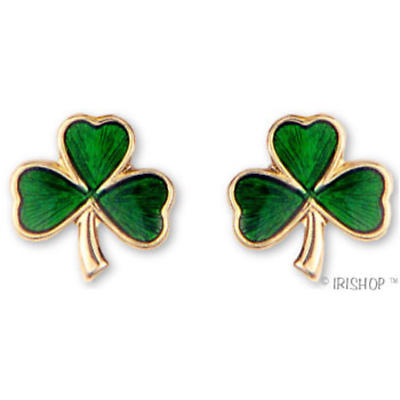 18k Gold Plated Shamrock Enamel Earrings
