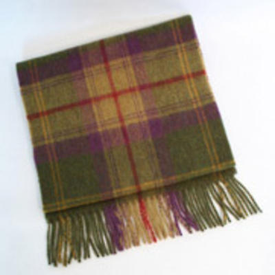 100% Lambswool Tartan Scarf - Green, Purple and Red Plaid