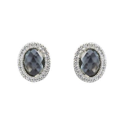 Sterling Silver Grey Diamond Cut Crystal Earrings