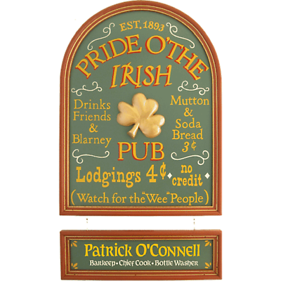 Personalized Pride of the Irish Hanging Nameboard