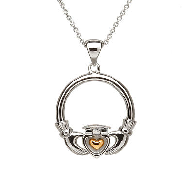Claddagh Necklace - Sterling Silver 14k Gold Plated Sweetheart Irish Necklace