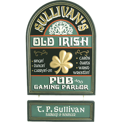 Personalized Old Irish Pub Hanging Nameboard