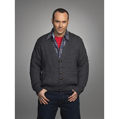 Wool Cardigan Sweater - Men's Merino Wool V-Neck Cardigan Charcoal