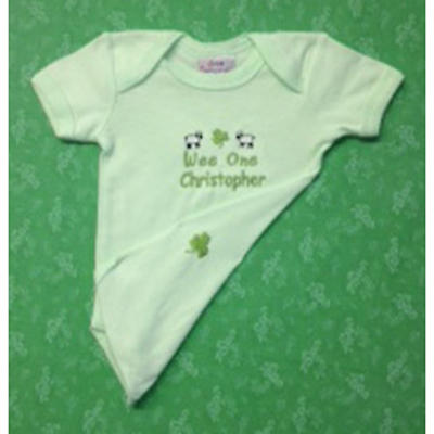 "Personalized ""Wee One"" Minty Green Romper"