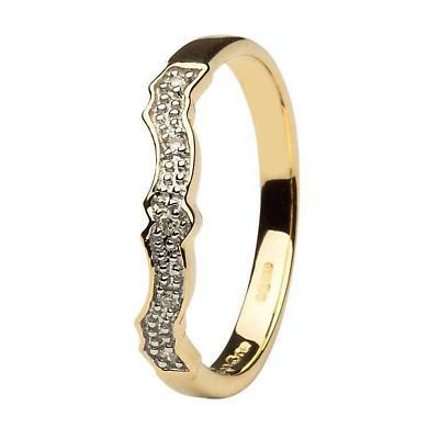 Irish Wedding Ring - Diamond Set Wedding Ring Matching Claddagh