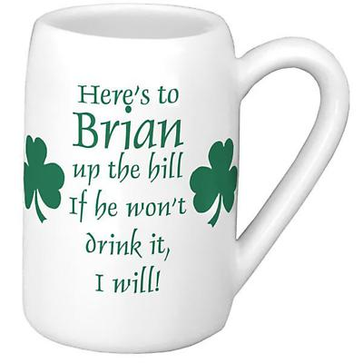 Personalized 22 oz. Shamrock Beer Stein