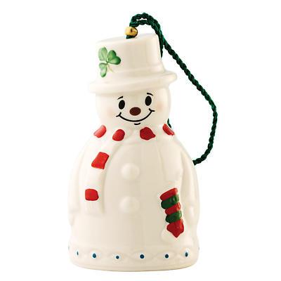 Irish Christmas - Belleek Snowman with Stocking Bell Ornament
