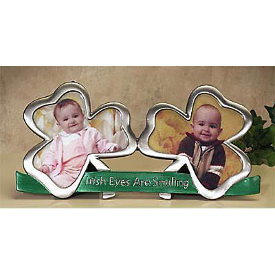 Double Shamrock Irish Photo Frame