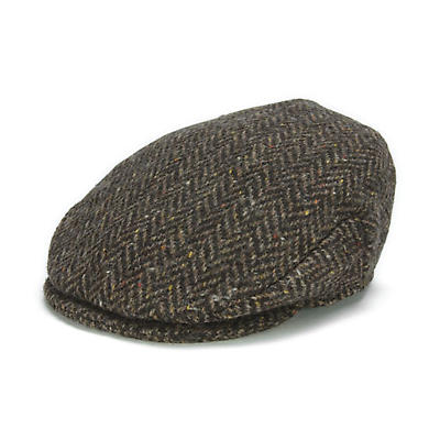 Vintage Irish Donegal Tweed Cap Brown Herringbone - Clearance