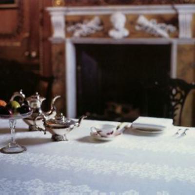 Irish Linen Shamrock Tablecloth - 72 inch x 144 inch Shamrock 100% Linen Damask Irish Tablecloth