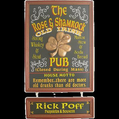 Personalized Rose & Shamrock Sign