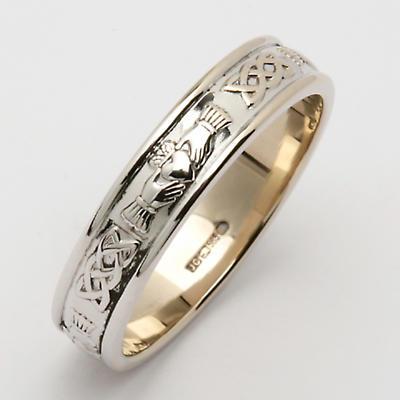 Irish Wedding Ring - Ladies Narrow Sterling Silver Corrib Claddagh Wedding Band