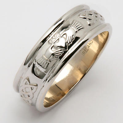Irish Wedding Ring - Men's Wide Sterling Silver Corrib Claddagh Wedding Band