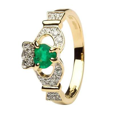 Irish Engagement Ring - Claddagh Ring with Diamonds and Emerald Heart