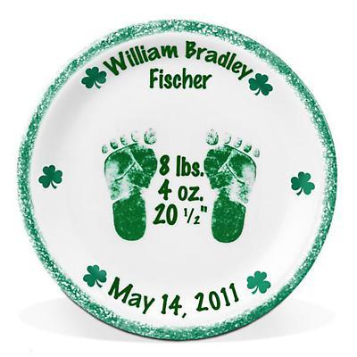 """Personalized 8"""" Irish Motif Birth Plate"""