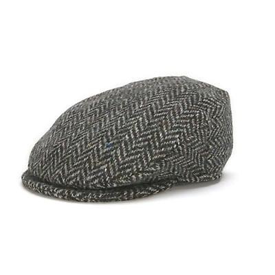 Vintage Irish Donegal Tweed Cap Black Herringbone