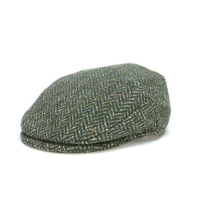 Vintage Irish Donegal Tweed Cap Green Herringbone