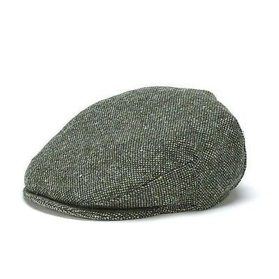 Vintage Irish Donegal Tweed Cap Green Salt and Pepper