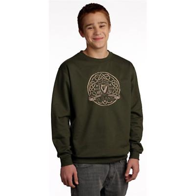Celtic Harp Embroidered Sweatshirt - Olive Green