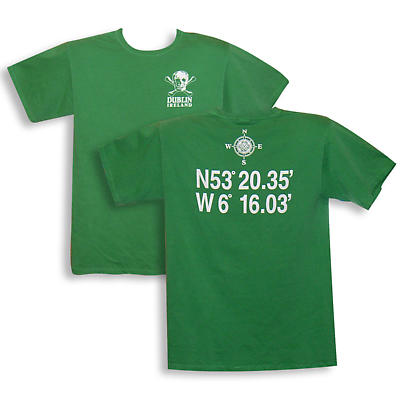 "Irish T-Shirt - ""Dublin, Ireland"" with Coordinates"