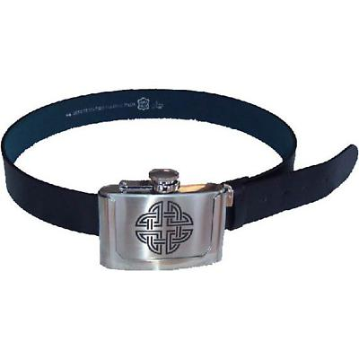 Celtic Knot Flask Buckle with Leather Belt
