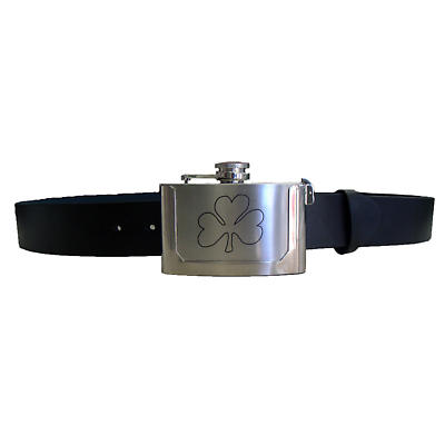 Shamrock Flask Buckle with Leather Belt
