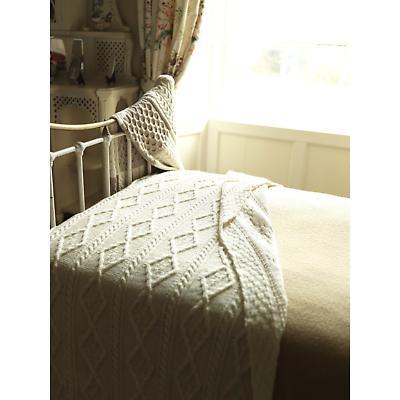 Irish Wool Blanket - Diamond Cable Knit Wool Blanket 64 x 72 inch