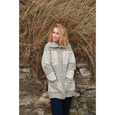 Irish Wool Sweater - Ladies Fair Isle Long Cardigan