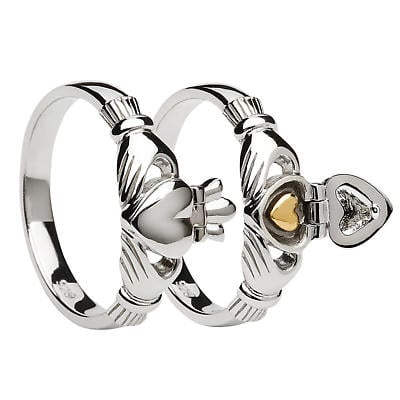 Claddagh Ring - Irish Sweetheart Claddagh Sterling Silver and 14k Gold Plated Ring